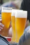Vidrios de cerveza en el jardín de la cerveza Fotografía de archivo libre de regalías