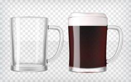 Vidrios de cerveza realistas - cerveza oscura y taza vacía ilustración del vector