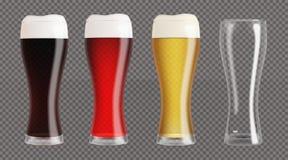 Vidrios de cerveza realistas fijados ilustración del vector