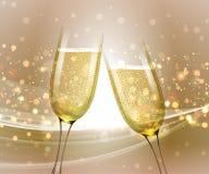 Vidrios de champán en fondo brillante con efecto del bokeh Ilustración del vector Fotos de archivo