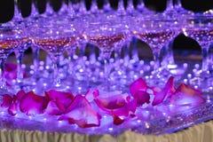 Vidrios de champán Pirámide de copas Fotos de archivo