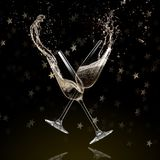 Vidrios de champán, tema de la celebración stock de ilustración
