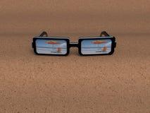 vidrios de 3D Sun Imágenes de archivo libres de regalías