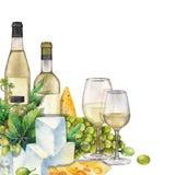 Vidrios de la acuarela de vino blanco, de las botellas, de las uvas blancas y de queso Stock de ilustración