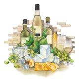 Vidrios de la acuarela de vino blanco, de las botellas, de las uvas blancas y de queso Ilustración del Vector