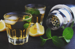 Vidrios de la bebida alcohólica con el limón Imagen de archivo libre de regalías
