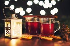 Vidrios de la bebida caliente de la Navidad con las especias Fotos de archivo libres de regalías