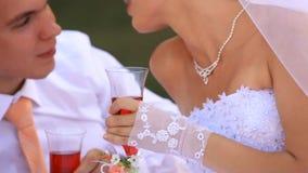 Vidrios de la boda con champán almacen de video