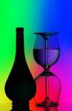 Vidrios de la botella y de vino Foto de archivo