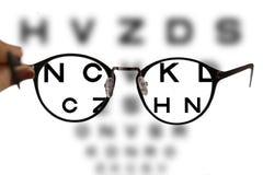 Vidrios de la corrección de la miopía en las letras de la carta de ojo fotografía de archivo