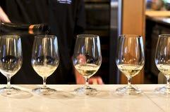 Vidrios de la prueba de vino Imagen de archivo libre de regalías