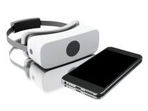 vidrios de la realidad virtual 3d con smartphone Imagenes de archivo