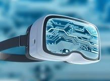 Vidrios de la realidad virtual, pirata informático futurista, tecnología de Internet y concepto de la red Fotografía de archivo libre de regalías