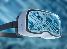 Vidrios de la realidad virtual, pirata informático futurista, tecnología de Internet y concepto de la red Foto de archivo libre de regalías