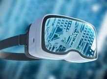 Vidrios de la realidad virtual, pirata informático futurista, tecnología de Internet y concepto de la red Imagen de archivo libre de regalías