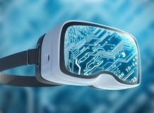 Vidrios de la realidad virtual, pirata informático futurista, tecnología de Internet y concepto de la red Foto de archivo