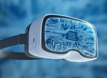 Vidrios de la realidad virtual, pirata informático futurista, tecnología de Internet y concepto de la red Imagenes de archivo