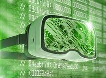 Vidrios de la realidad virtual, pirata informático futurista, tecnología de Internet y concepto de la red Imagen de archivo