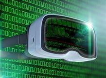 Vidrios de la realidad virtual, pirata informático futurista, tecnología de Internet y concepto de la red Fotos de archivo libres de regalías