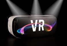 Vidrios de la realidad virtual de VR en fondo negro stock de ilustración