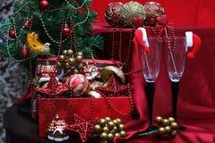 Vidrios de las decoraciones del árbol del Año Nuevo Imagen de archivo