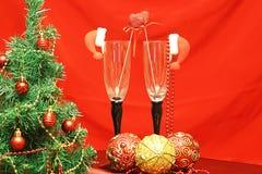 Vidrios de las decoraciones del árbol del Año Nuevo Foto de archivo