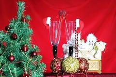 Vidrios de las decoraciones del árbol del Año Nuevo Foto de archivo libre de regalías