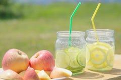 Vidrios de limonada de la cal Foto de archivo