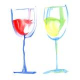Vidrios de los pares de vino de la uva libre illustration