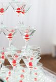 Vidrios de martini del champán de la pirámide Imagen de archivo