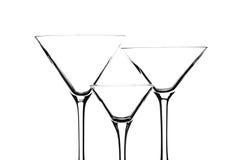 Vidrios de Martini en blanco Fotos de archivo libres de regalías