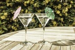 Vidrios de Martini en la sol del verano Imágenes de archivo libres de regalías
