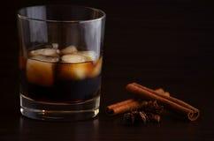 Vidrios de ron del whisky con los cubos de hielo Fotografía de archivo
