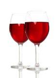 Vidrios de vino con el vino rojo Imagen de archivo