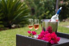 Vidrios de vino con la botella del vino rosado con el fondo del jardín Fotografía de archivo libre de regalías