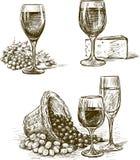 Vidrios de vino de la uva libre illustration