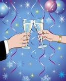 Vidrios de vino del Año Nuevo Fotos de archivo libres de regalías