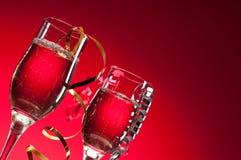 Vidrios de vino rojo Fotos de archivo libres de regalías