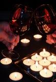 Vidrios de vino rojo en tostada Imagen de archivo libre de regalías