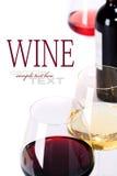 Vidrios de vino rosado blanco, rojo y Imagen de archivo libre de regalías
