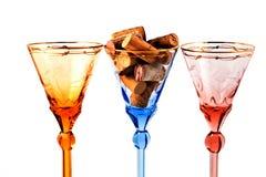 Vidrios de vino tricolores Fotografía de archivo