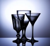 Vidrios de vino vacíos Imágenes de archivo libres de regalías