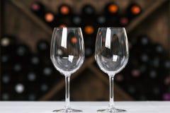 Vidrios de vino vacíos Fotografía de archivo libre de regalías