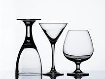 Vidrios de vino vacíos Imagenes de archivo