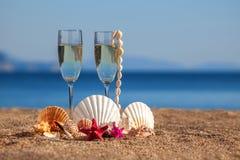 Vidrios de vinos, cáscaras, estrellas de mar Imágenes de archivo libres de regalías