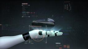 Vidrios de VR con el interfaz digital UI realidad aumentada, realidad virtual en la palma del cyborg del robot, mano, brazo del r