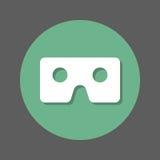 Vidrios de Vr, icono plano de la cartulina de la realidad virtual Botón colorido redondo, muestra circular del vector con efecto  libre illustration