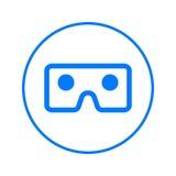 Vidrios de Vr, línea circular icono de la cartulina de la realidad virtual Muestra colorida redonda Símbolo plano del vector del  stock de ilustración