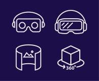 Vidrios de VR para la línea sistema del ejemplo del vector del smartphone del deisgn Icono aislado casco de la realidad virtual Imagen de archivo libre de regalías