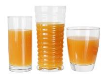 Vidrios de zumo de naranja Foto de archivo libre de regalías
